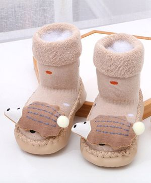 Kidofash Mouse Design Long Socks Cum Booties - Beige