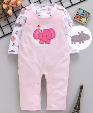 ToffyHouse Dungaree Style Romper With Tee Elephant Embroidery - Light Pink White
