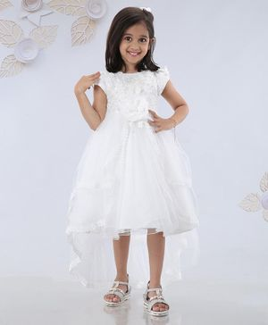 Mark & Mia Short Sleeves High Low Frock Flower Applique - White