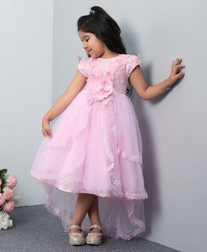 Mark & Mia Short Sleeves High Low Frock Flower Applique - Pink