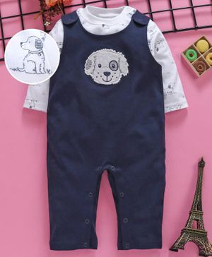 ToffyHouse Dungaree Style Romper With Tee Dog Print - Navy