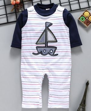 ToffyHouse Dungaree Style Romper With Inner Tee Boat Patch - White Navy Blue