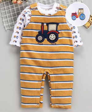 ToffyHouse Striped Romper With Full Sleeves Tee Vehicle Patch - Gold