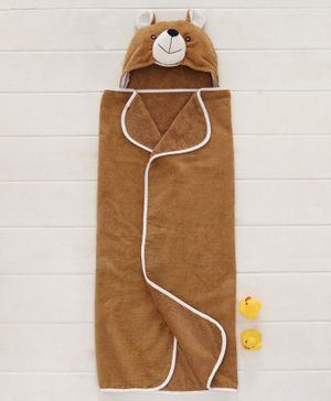 Babyhug Hooded Cotton 3D Towel Bear Design - Brown