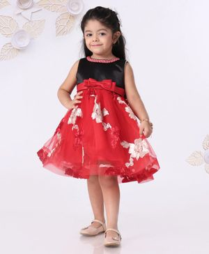Mark & Mia Sleeveless Party Frock With Embellished Neckline & Floral Work - Red Black