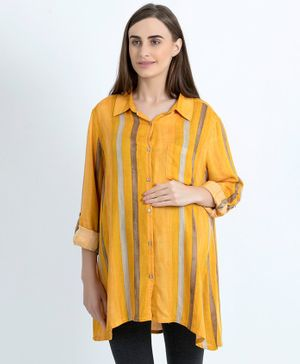 Blush 9 Full Sleeves Striped Maternity Shirt - Yellow