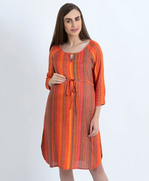 Blush 9 Striped Three Fourth Sleeves Maternity Nursing Dress - Orange