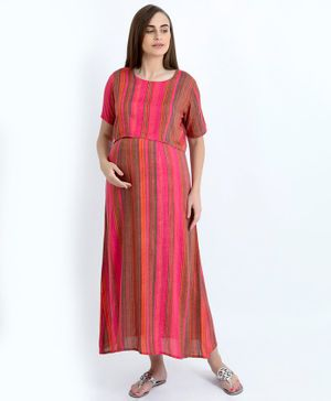Blush 9 Striped Half Sleeves Maxi Maternity Dress - Pink
