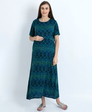 Blush 9 Diamond Pattern Half Sleeves Maxi Maternity Dress - Blue