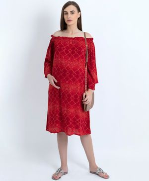 Blush 9 Diamond Pattern Full Sleeves Off Shoulder Maternity Dress - Red