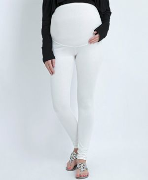 Blush 9 Solid Full Length Tummy Hug Maternity Leggings - Off White