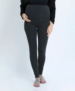 Blush 9 Solid Full Length Tummy Hug Maternity Leggings - Black