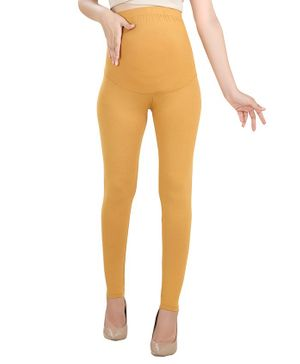 House of Napius Tummy Hug Solid Full Length Maternity Leggings - Yellow
