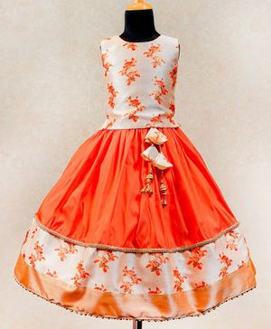 Li&Li BOUTIQUE Floral Print Sleeveless Choli with Umbrella Cut Lehenga - Orange