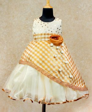 Li&Li BOUTIQUE Checkered Flower Applique Sleeveless Ethnic Dress - Off White & Golden