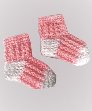 Knits & Knots Dual Shaded Crochet Socks - Pink & White
