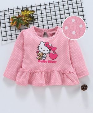 Babyhug Full Sleeves Frilled Top Hello Kitty Print - Pink