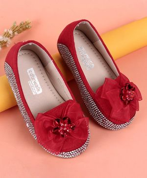 Cute Walk by Babyhug Studded Belly Shoes Bow Detail - Red