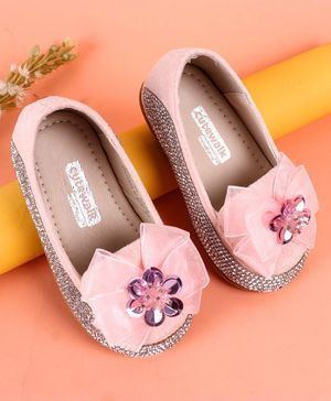Cute Walk by Babyhug Party Wear Studded Belly Shoes Bow Applique - Pink