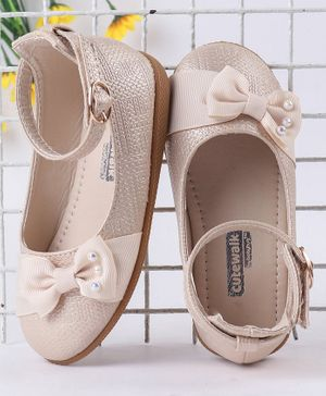 Cute Walk by Babyhug Party Wear Belly Shoes Bow Appliques - Beige