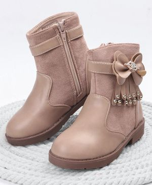 Cute Walk by Babyhug Party Wear Ankle Length Boots Bow Applique - Light Brown