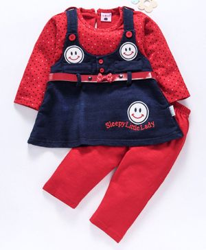 U R Cute Full Sleeves Polka Dot Print Smiley Patch Dress With Leggings - Red