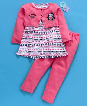 U R Cute Full Sleeves Penguin Patch Shrug With Dress & Leggings Set - Pink