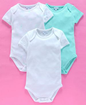 OVS Solid Half Sleeves Pack Of 3 Onsies - White & Blue