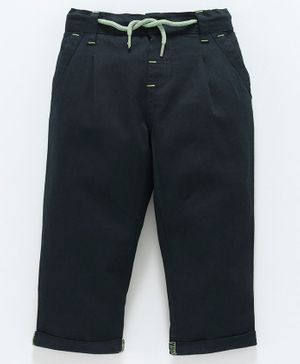 Babyoye Full Length Cotton Trousers With Drawstring - Navy Blue