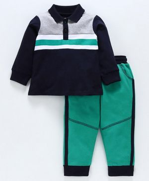 Babyoye Full Sleeves Striped Tee with Lounge Pant - Green Navy