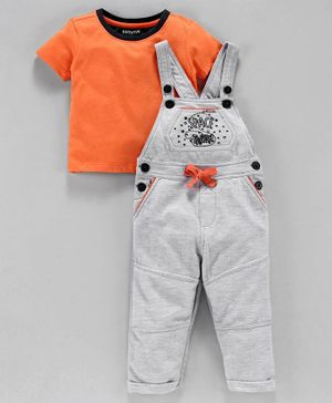 Babyoye Cotton Dungaree With Half Sleeves Tee Space Embroidered - Orange Grey