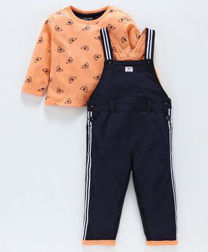 Babyoye Cotton Dungaree & Printed Tee - Light Orange & Navy Blue