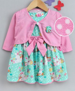 Dew Drops Short Sleeves Frock With Full Sleeves Shrug Bunny Print - Sea Green Pink