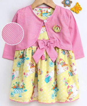 Dew Drops Short Sleeves Frock With Full Sleeves Shrug Bunny Print - Yellow Pink
