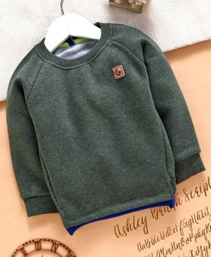 Play by Little Kangaroos Full Sleeves Sweatshirt - Olive Green