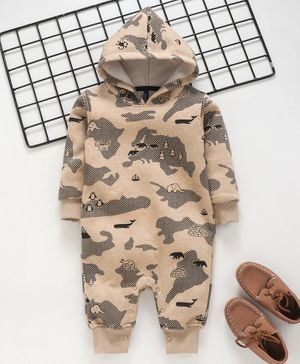 Play by Little Kangaroos Full Sleeves Hooded Romper Animal Print - Light Brown
