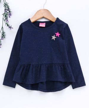 Little Kangaroos Full Sleeves Frock Style Top Star Patch - Blue