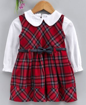 Babyhug Checkered Frock With Full Sleeves Inner Tee - Red