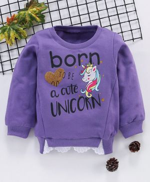 Babyhug Full Sleeves Winter Wear Top Unicorn Print - Purple