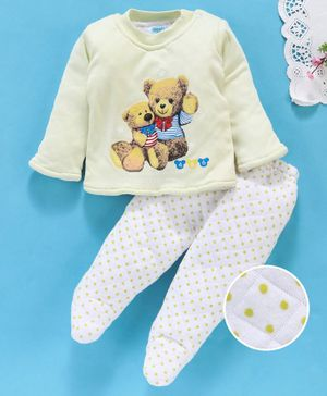 Tappintoes Full Sleeves Tee & Bootie Leggings Set Teddy Print - Lemon Yellow