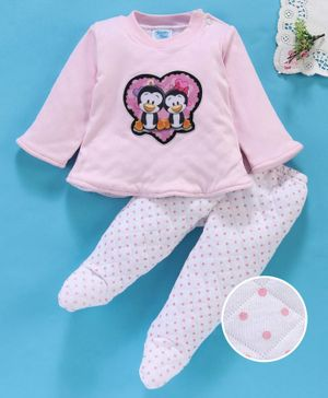 Tappintoes Full Sleeves Tee & Bootie Leggings Set Penguin Patch - Pink