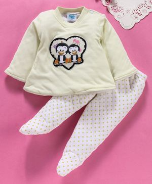 Tappintoes Full Sleeves Tee & Bootie Leggings Set Penguin Patch - Lemon