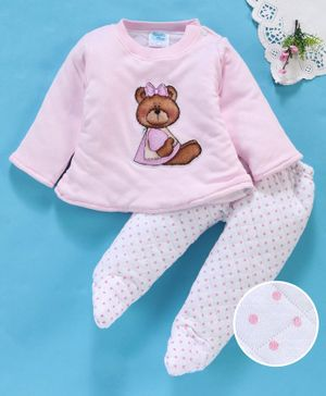 Tappintoes Full Sleeves Tee & Bootie Leggings Set Teddy Patch - Pink White
