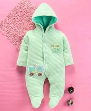 Tappintoes Full Sleeves Footed Romper With Hood Truck Patch - Green