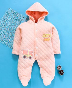 Tappintoes Full Sleeves Footed Romper With Hood Truck Patch - Peach