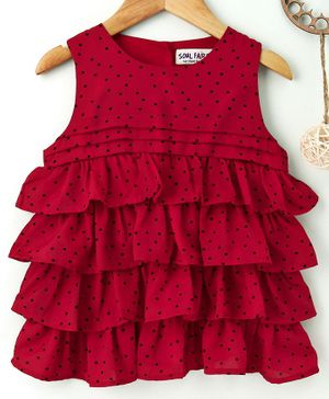 Soul Fairy Polka Dot Print Layered Sleeveless Dress  - Red