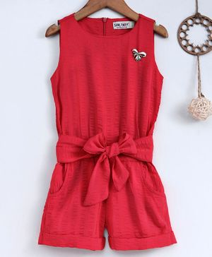 Soul Fairy Tie Up Front Pocket Sleeveless Jumpsuit - Red