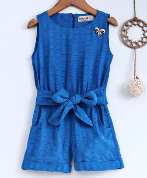 Soul Fairy Tie Up Front Pocket Sleeveless Jumpsuit - Blue