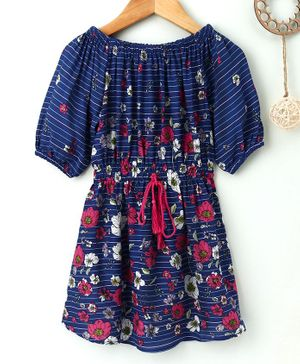 Soul Fairy Floral Printed Elasticated Waist Three Fourth Sleeves Dress  - Blue