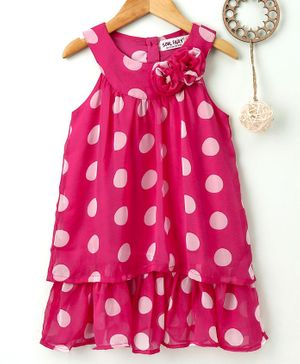 Soul Fairy Flower Decorated Dots Printed Sleeveless Dress - Pink